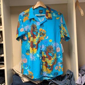 Blossom dragon print casual shirt